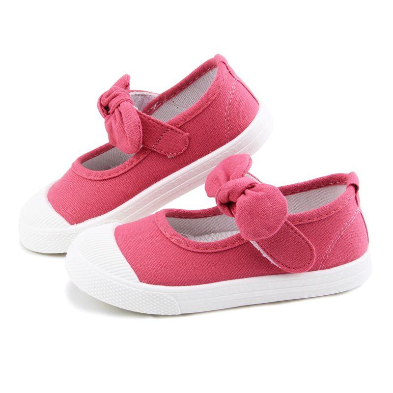 Bébé fille chaussures toile décontracté enfants chaussures avec noeud papillon nœud papillon solide couleur bonbon filles baskets enfants chaussures souples 21-30