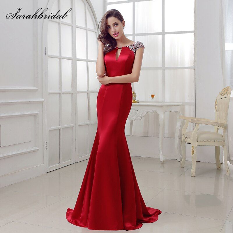 Sexy Burgundy Prom dresses long ballkleider 2017 Mermaid jewel Zipper Sexy Back Floor Length and SATIN Crystal Beading LSX286