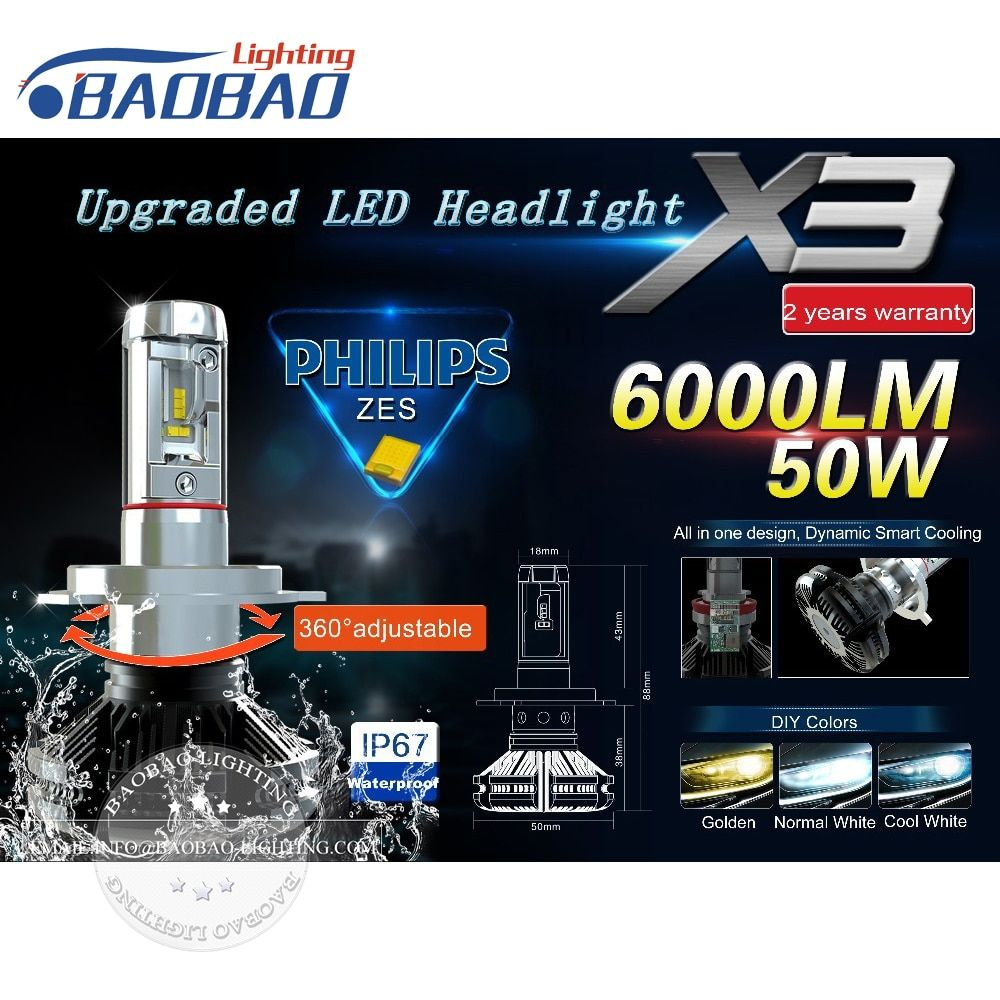 Top quality car led headlight kit X3 use Philips ZES Gen2 Chips 50W 6000LM 6500k 8000k car headlamp H4 H7 H11 9005 9006