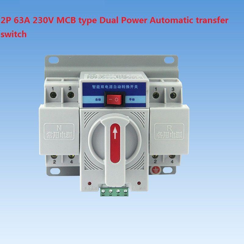 2 P 63A 230 V SCHUTZSCHALTER typ Dual Power Automatic transfer switch