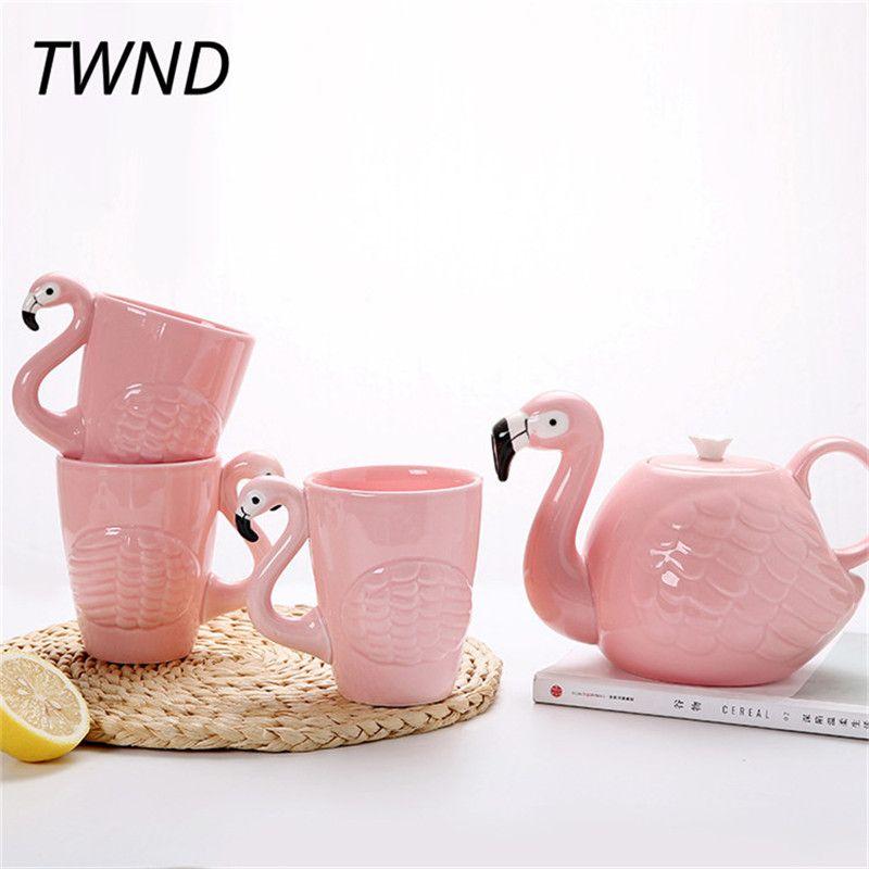 Pink flamingo teapot cup sets ceramic coffee pot mugs breakfast creative coffeeware drinkware