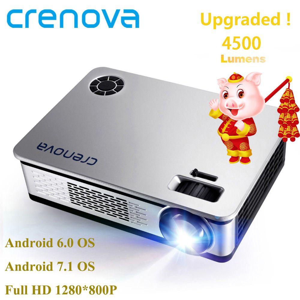 CRENOVA 4500 Lumen Video Projektor Für Volle HD 1920*1080 Android Projektor Mit WIFI Bluetooth Android 6.0 7,1 OS LED beamer