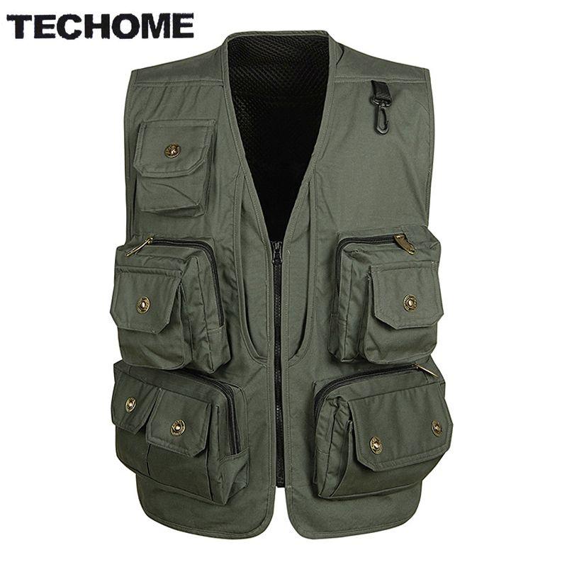 2016 Spring&autumn men vest back Detachable casual multi-pocket quinquagenarian cotton vest waistcoat Outerwear gilet workwear