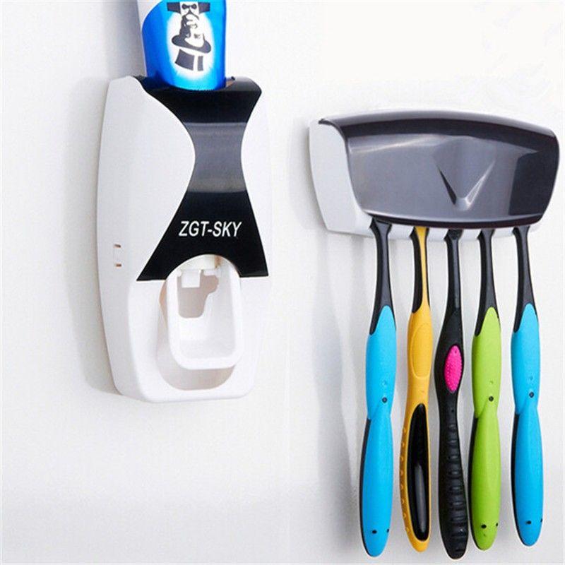Maison de mode Distributeur Automatique de Dentifrice Brosse À Dents Titulaire Salle De Bains produits Mur de Montage En Rack De Bain ensemble Dentifrice Squeezers