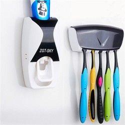 Moda hogar automático dispensador de pasta de dientes productos de baño soporte de pared baño set dientes exprimidores