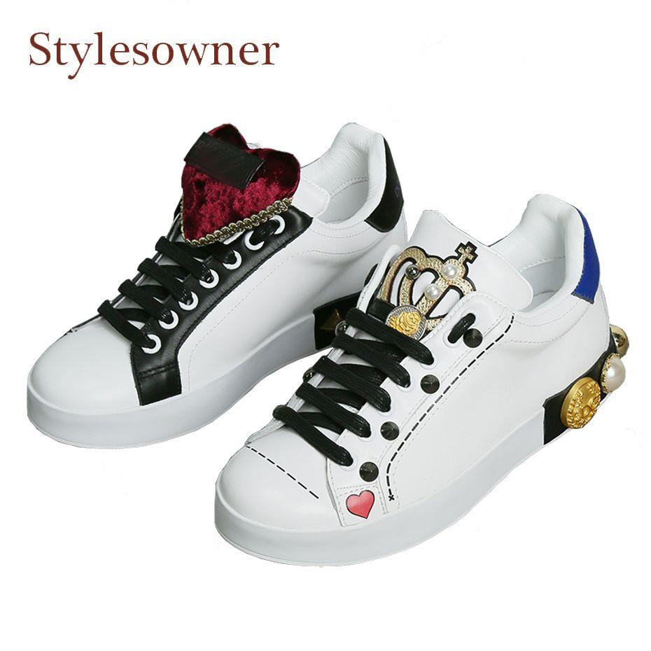 Stylesowner couronne conception blanc chaussures femmes véritable en cuir mixte couleur casual chaussures diamant en métal rivet stud lacent appartements chaussures