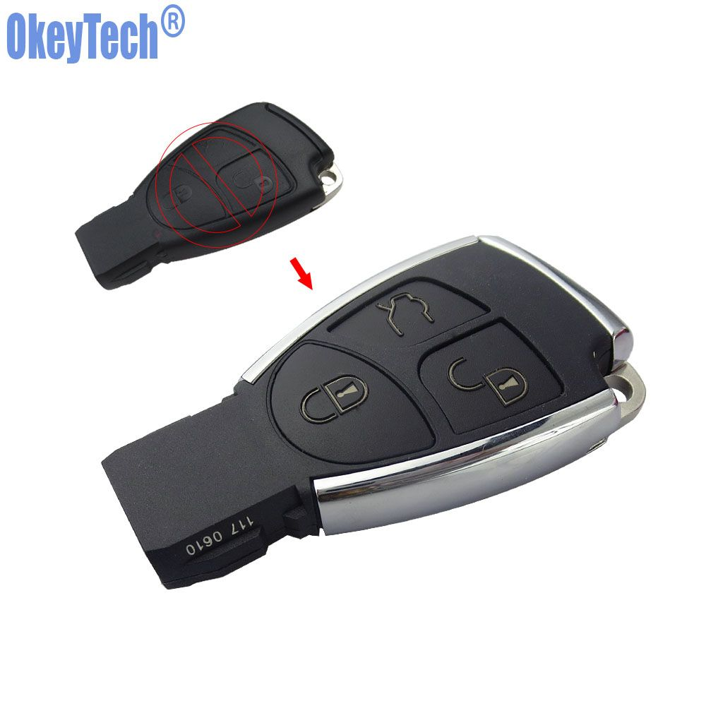 OkeyTech New Style Silver Side Modified 3 Button Remote Key Shell Case Fob for Mercedes Benz MB CLS C E S with Battery Holder