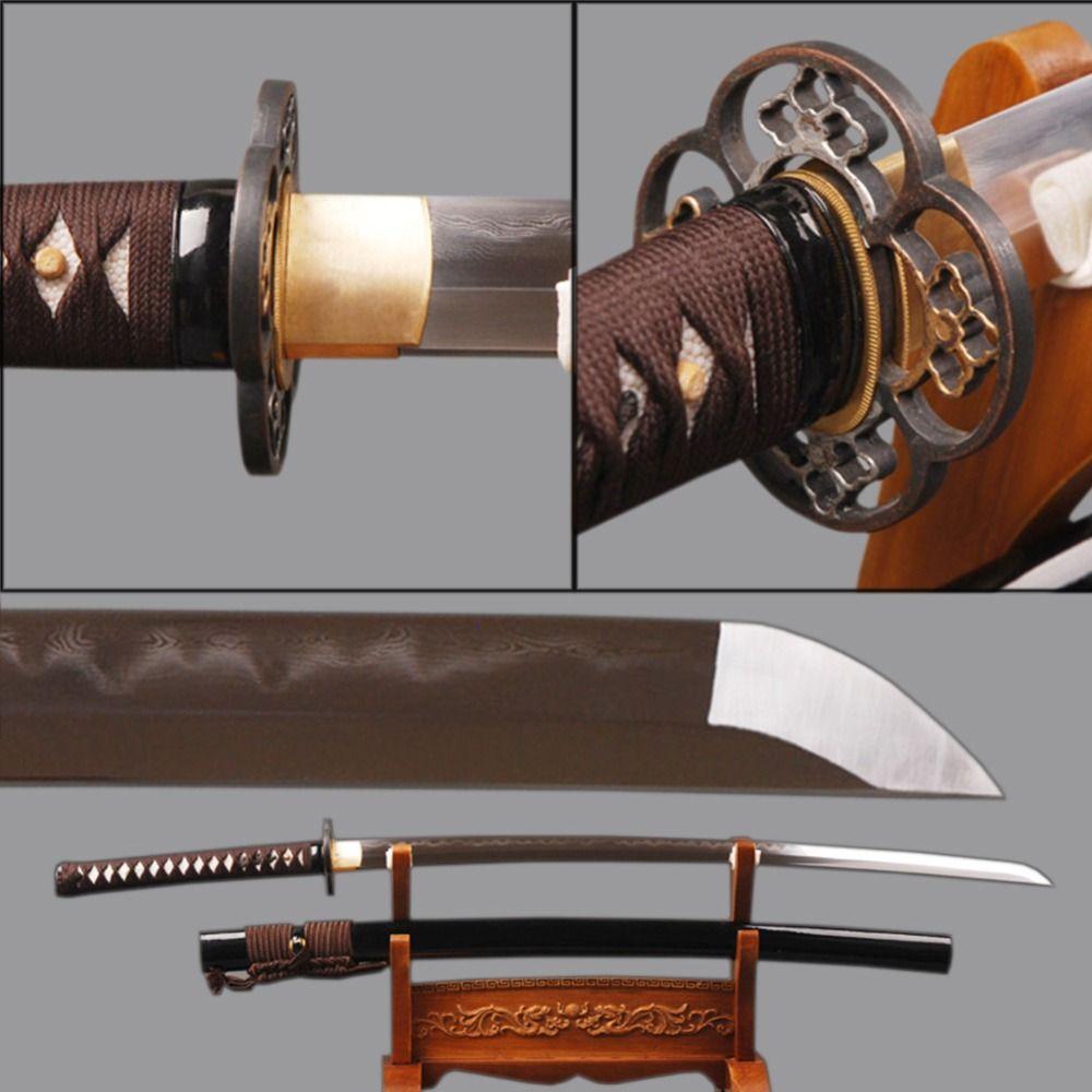 Sharp Iaido Samurai Katana Japanischen Schwert Folded Steel Lehm Ausgeglichenes Samurai Cosplay Espadas Messer Japanischen Stil Dekoration