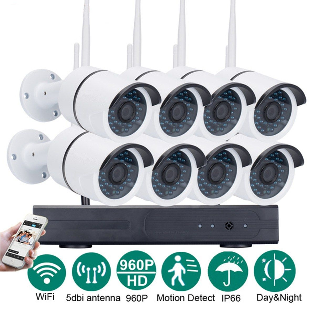 Safurance Wireless 8CH 960P WIFI NVR Outdoor CCTV Home Security Night Vision IP Camera Surveillance