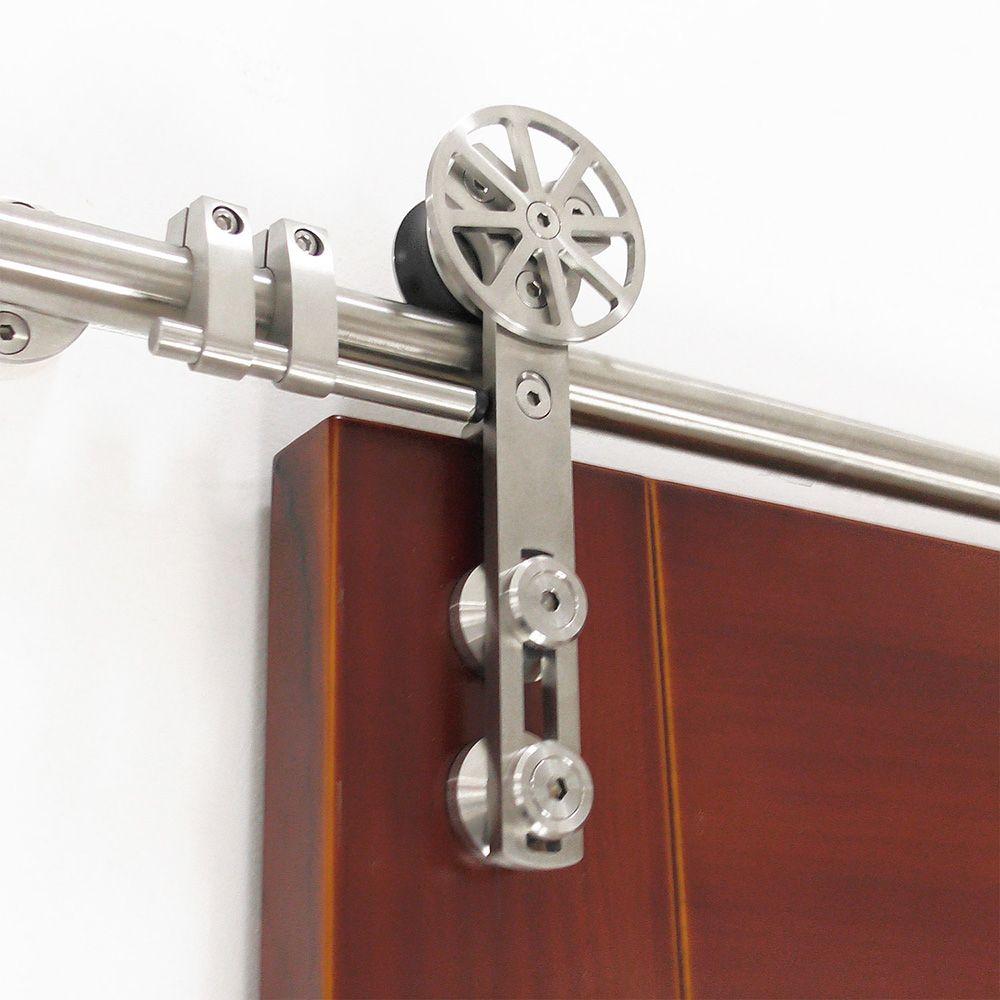DIYHD 5FT-13FT stainless steel sliding barn wood door hardware movable spoke wheel brushed barn door sliding track kit
