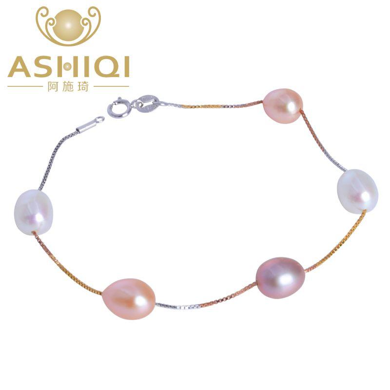 ASHIQI véritable 925 Bracelet en argent Sterling pour les femmes naturel perle d'eau douce bijoux cadeau