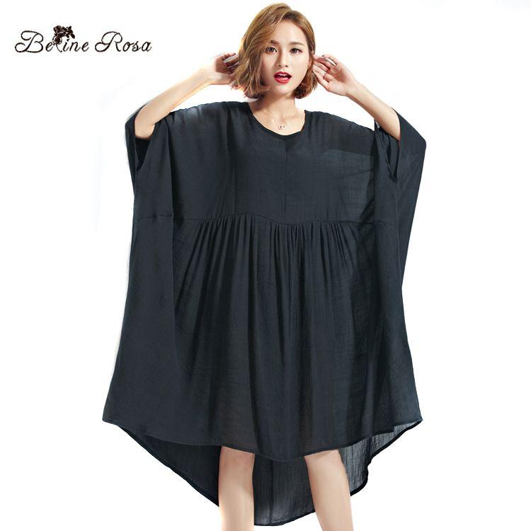 BelineRosa 2017 Grande Taille Robe Plus La Taille Femmes Vêtements 5XL 6XL 7XL Noir Robes Pour Femmes Femelle TYW00339
