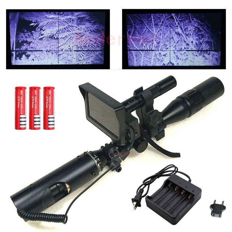 2018 Outdoor Hunting optics Tactical digital Infrared night vision Hunting riflescope Accessories with Monitor and Flashlight