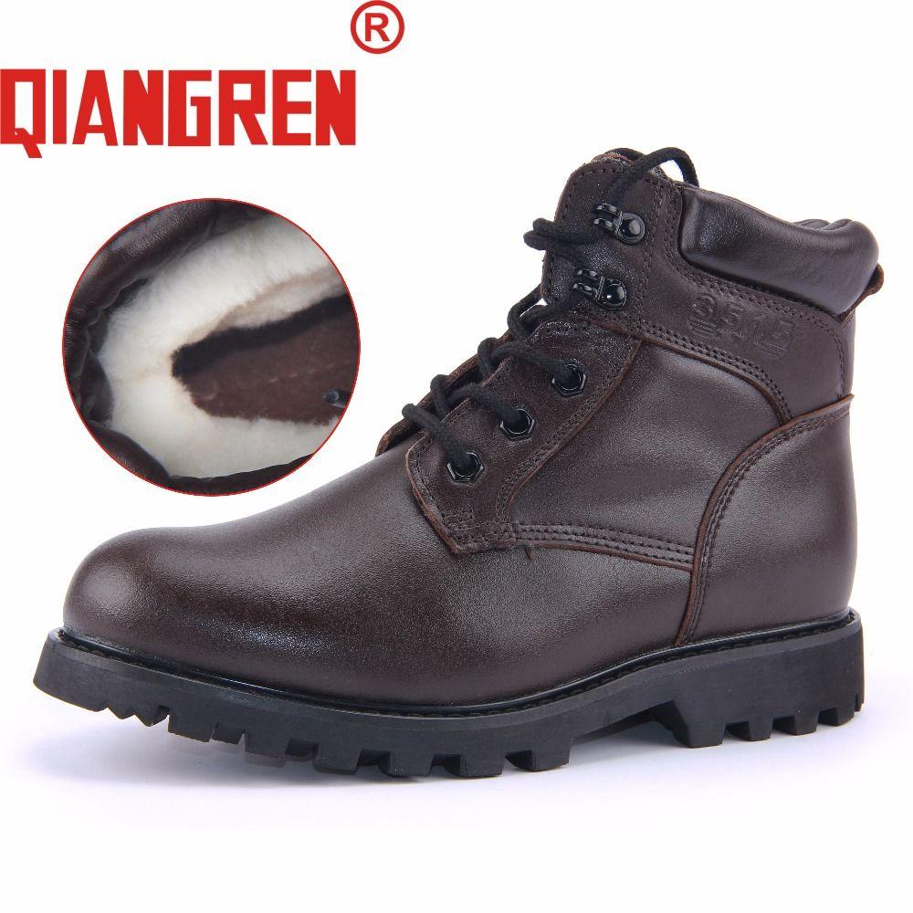 Qiangren бренд фабрики сразу Для мужчин; зимние ботинки Пояса из натуральной кожи шерсть резиновая Армейские ботинки Обувь militares Botas просвет