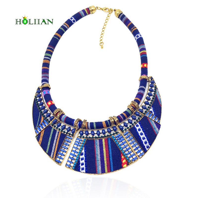 Chaude femmes foulard collier corde chaîne bohême boho collier tribal ethnique vintage marine bleu grand collier et pendentifs bijoux bijoux