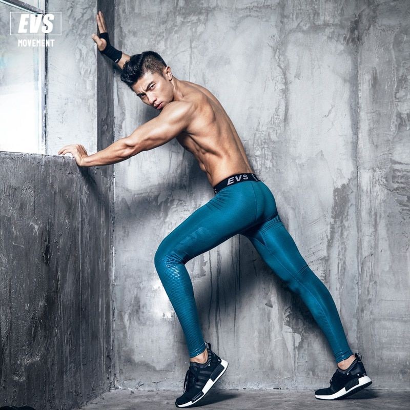 2017 EVS Men Fitness Leggings Tights Elastic Compression Tights Quick Dry Breathable Bodybuilding Pants New