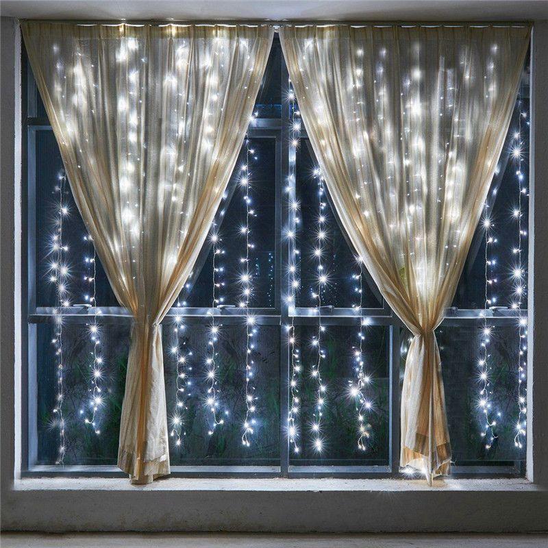 6*2 м 384 светодиодные лампы Шторы свет Новогодние товары огни Открытый украшения для Праздник Новогодние гирлянда света Свадебные огни