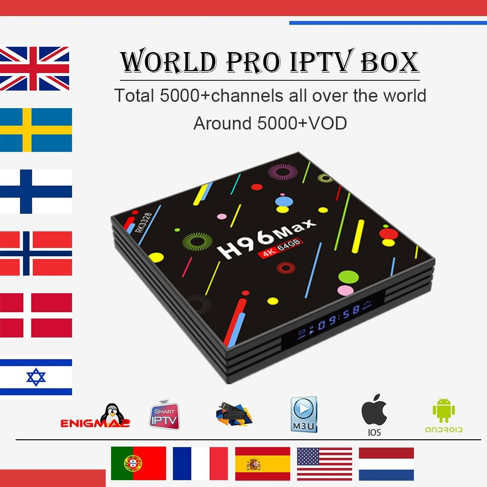 World IPTV Box H96 MAX RK3328 4G/32G 4G/64G android 7.1 tv box 5000+Live Arabic French UK Dutch Sweden Norway USA smart tv box