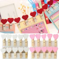20 unids color mini Corazón de amor de madera Oficina Craft Memo Clips DIY ropa de papel foto PEG decoración 3.5x0.7 cm