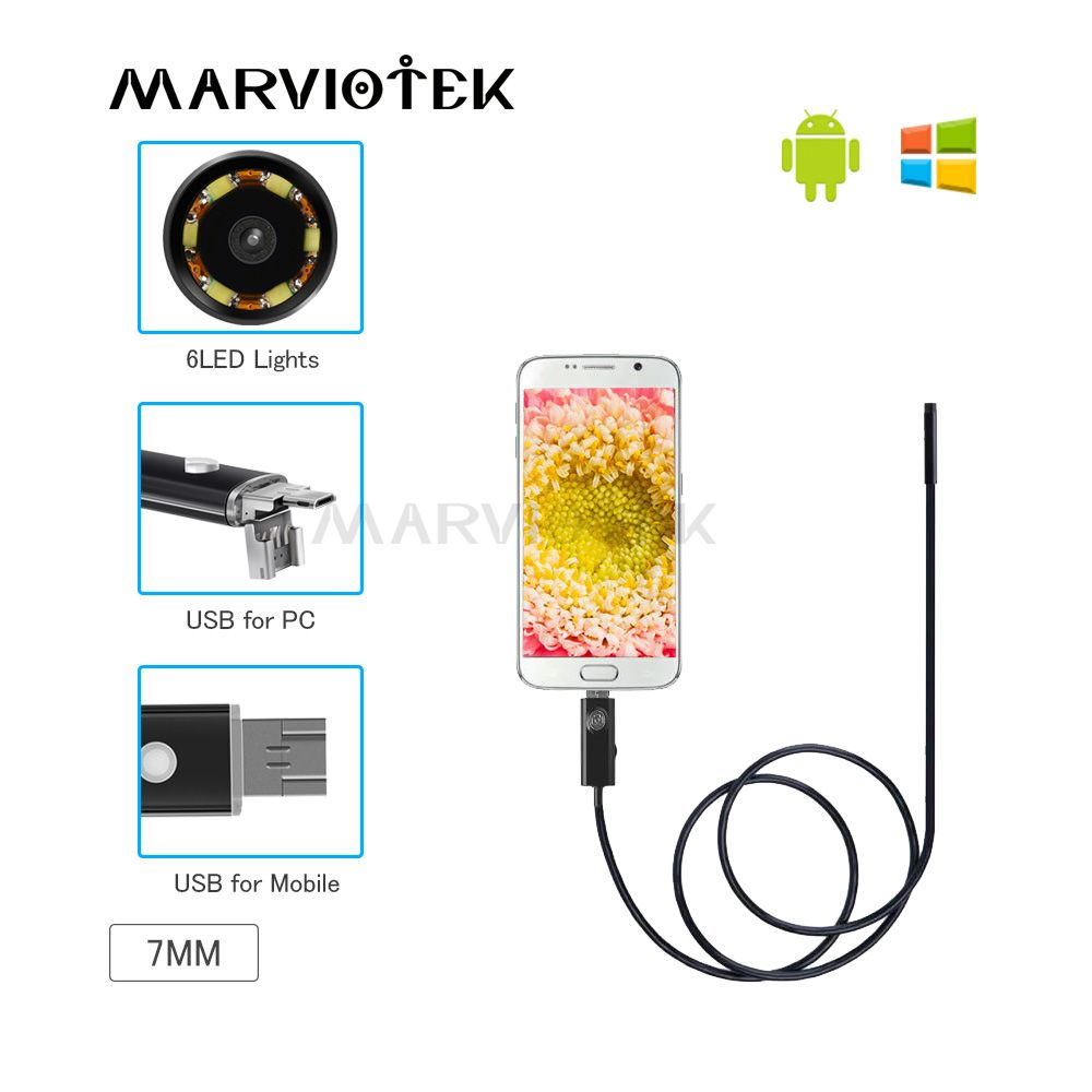 Endoscope 7mm Lens USB Endoscope Camera Waterproof 2/5/10M Wire Snake Tube Inspection Borescope For OTG Compatible Android Phone
