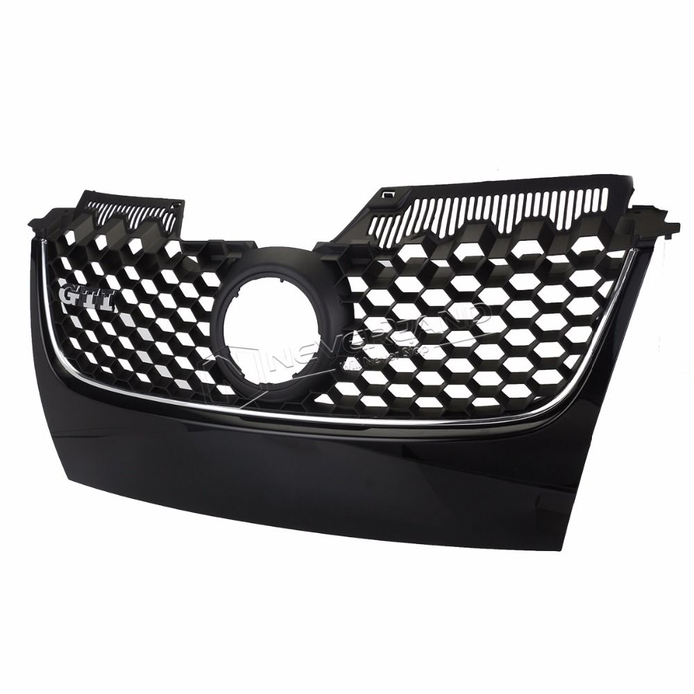 NEVERLAND Black Main Upper Hex Mesh Grill Grilles Chrome Trim For VW MK5 Jetta GLI GTI 2006 2007 2008 2009