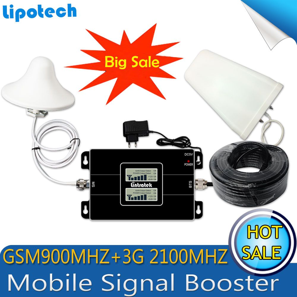 Lintratek Russia GSM 900/2100mhz Celular Bual band Cell Smart Phone Signal Booster WCDMA 3G GSM Signal Repeater 3G Amplifier