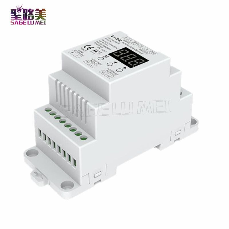 Free shipping AC110V - 220V S1-DR DIN rail 2 Channel 2CH AC Triac DMX Dimmer Dual channel output Silicon DMX512 LED controller