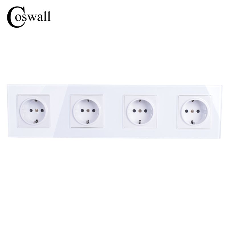 COSWALL Wall Crystal Glass Panel 4 Way Power Socket Plug Grounded, 16A EU Standard Electrical Quadruple Outlet 344mm * 86mm