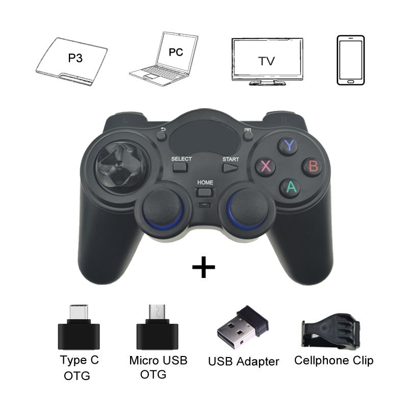 2.4 G Gamepad Android Wireless <font><b>Joystick</b></font> Controller Joypad with OTG Converter For Android Smart Phone For Tablet PC Smart TV Box