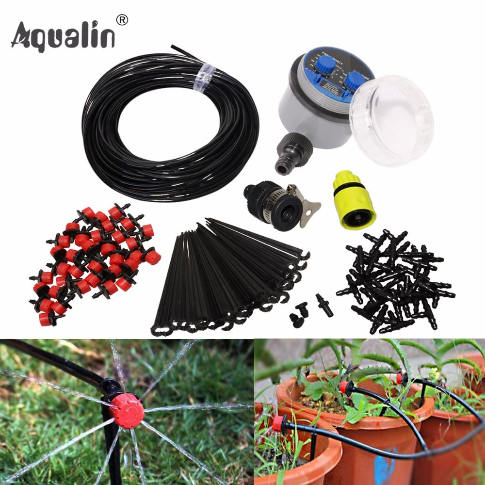 25m <font><b>Garden</b></font> DIY Automatic Watering Micro Drip Irrigation System <font><b>Garden</b></font> Self Watering Kits with Adjustable Dripper #21025I