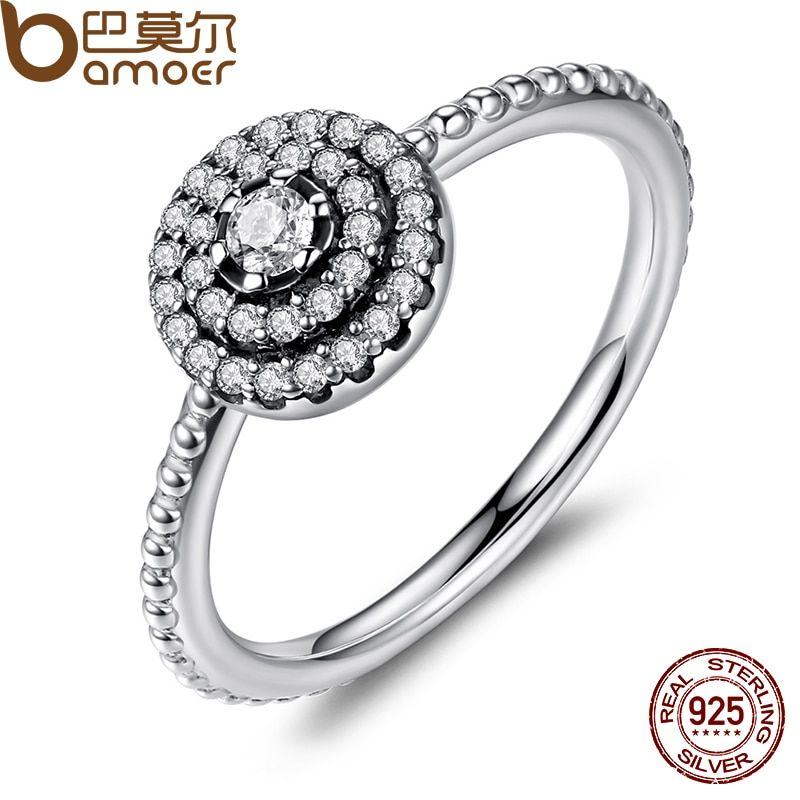 BAMOER 3 Size 925 Sterling Silver Round Shape Radiant Elegance, Clear CZ Flower Finger Rings for Women Ring Jewelry PA7178