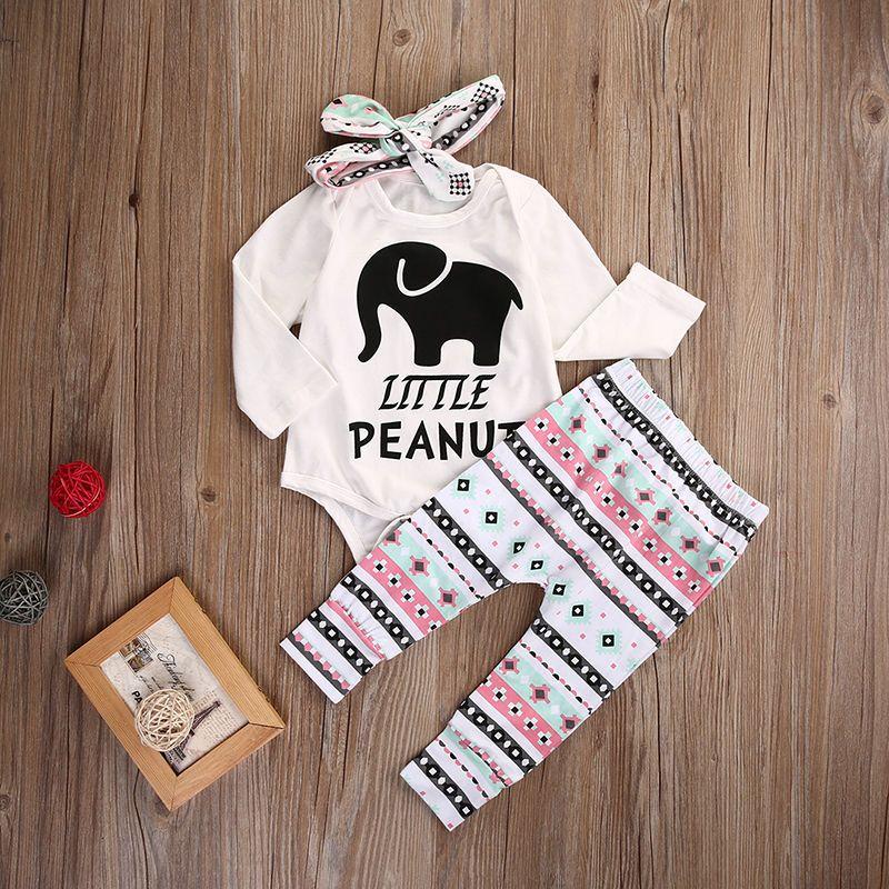 Одежда для новорожденных девочек и мальчиков комплект слон ползунки Топы корректирующие леггинсы штаны повязка на голову комплект Костюмы