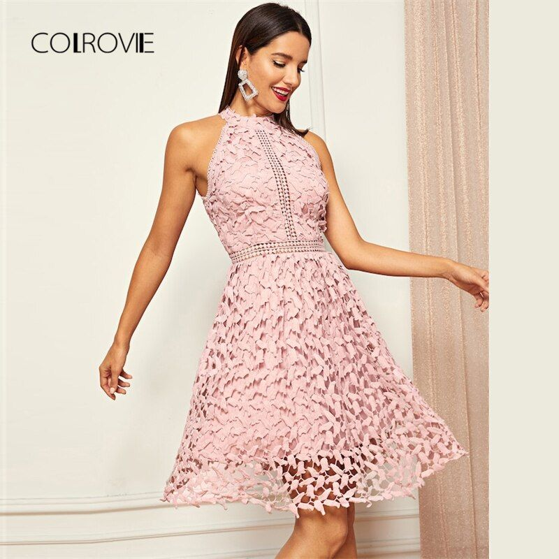 COLROVIE Pink Solid Halter Skater Party Lace Dress Women 2018 Autumn Sleeveless Sweet Office Sexy Dress Elegant Mini Dresses