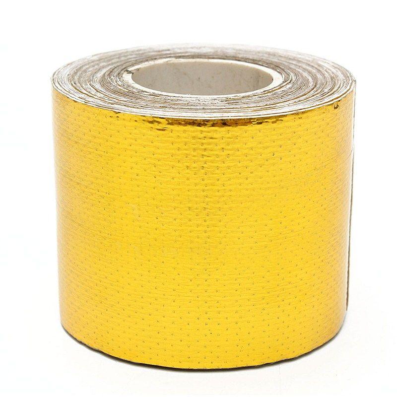 MTGATHER 9 mt x 5 cm Fiberglas Roll Adhesive Reflektierende Gold Hohe Temperatur Hitzeschild Wrap Band Heißer Verkauf