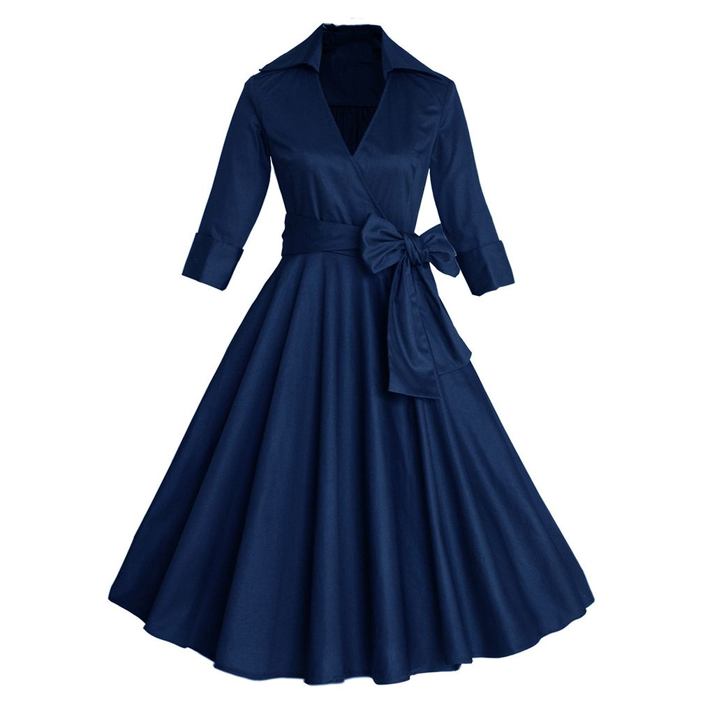 2017 Women Sexy Autumn Dress Elegant Audrey Hepburn Half Sleeve 50s 60s Retro Vintage Dress Rockabilly Swing Dresses for Women