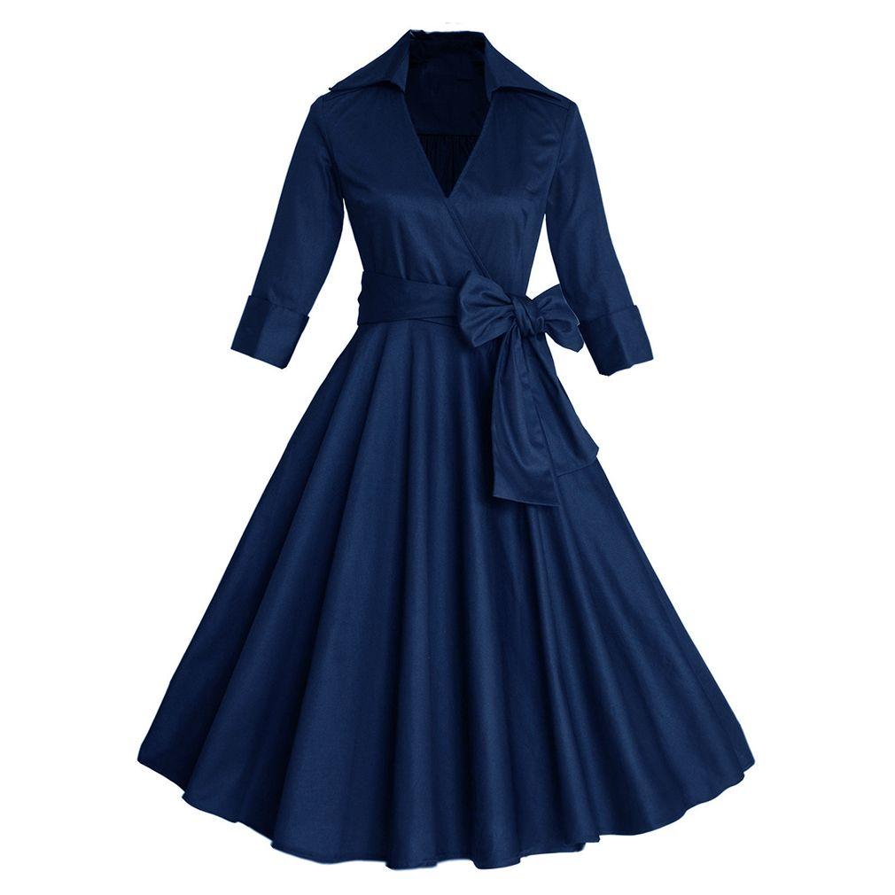 2017 Women Sexy Autumn Dress Elegant Audrey Hepburn Half Sleeve 50s 60s Retro Vintage Dress Rockabilly Swing Dresses for Women