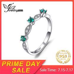 Jewelrypalace 3 Камни КРУГЛЫЙ создания Изумрудный Обручение Свадебные Кольца для Для женщин из натуральной 925 стерлингового серебра Красивые ювел...
