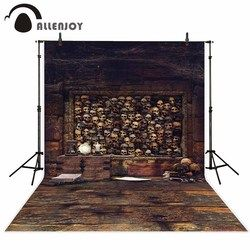 Allenjoy skeleton creepy wood floor photography background brown rustic wooden board wall scared photo backdrop photocall props