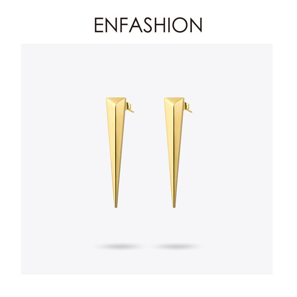 Boucles d'oreilles longues Triangle Punk Enfashion boucles d'oreilles couleur or Rose boucles d'oreilles pendantes en acier inoxydable pour femmes bijoux