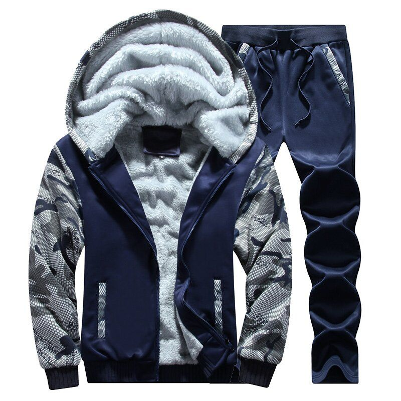 LEFT ROM Men Sporting Fleece Thick hoodies Brand-Clothing Casual Track Suit Men Jacket+Pant Warm Fur Inside Winter Sweatshirt