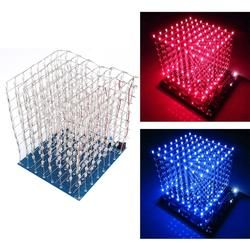 3D LED Light Squared DIY Kit 8x8x8 3mm LED Cube White LED Blue/Red Ray Light PCB Board Table Lamps free shipping