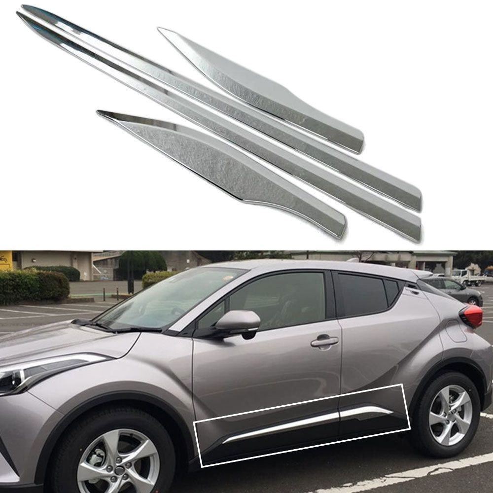 BBQ@FUKA Chrome ABS Car Side Door Body Cover Moulding Trim Strip Car Exterior Accessories Fit for TOYOTA C-HR CHR 2016 2017 2018
