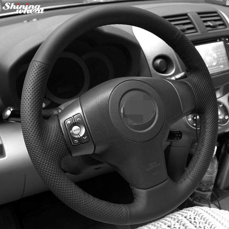 Couvre-volant en cuir artificiel noir cousu à la main pour Toyota Yaris Vios RAV4 2006-2009