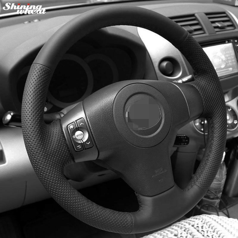 Shining wheat Hand-stitched Black Leather Steering Wheel Cover for Toyota Yaris Vios RAV4 2006-2009