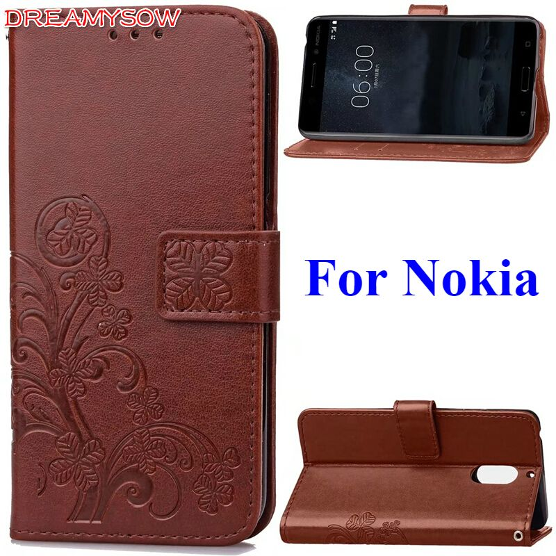 Luxury Leather with Lucky 4 Leaves Pattern Case For Nokia 8 6 5 3 Leather Flip Wallet Cover for Nokia Lumia 930 640 630 535 530