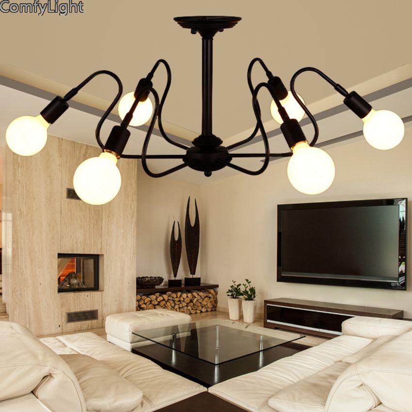 Mordern Nordic Retro LED Chandelier Vintage Loft Antique Art Spider Ceiling Lamp Fixture Light Novelty Lustre Lamparas Colgante