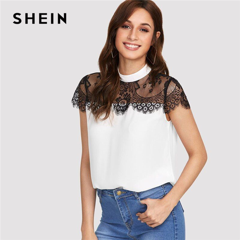 SHEIN Lace Yoke Keyhole Back Top Women Patchwork Stand Collar Short Sleeve <font><b>Button</b></font> Casual Blouse 2018 Summer Elegant Blouse