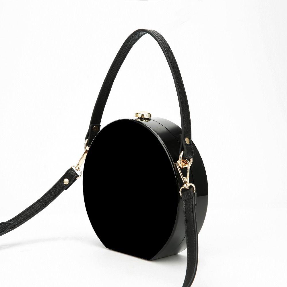 2017 Brand New Acrylic Bag Mini Round Messenger Bag For Girls Casual Black Cross body Shoulder Bag Women Small Female Zipper Bag