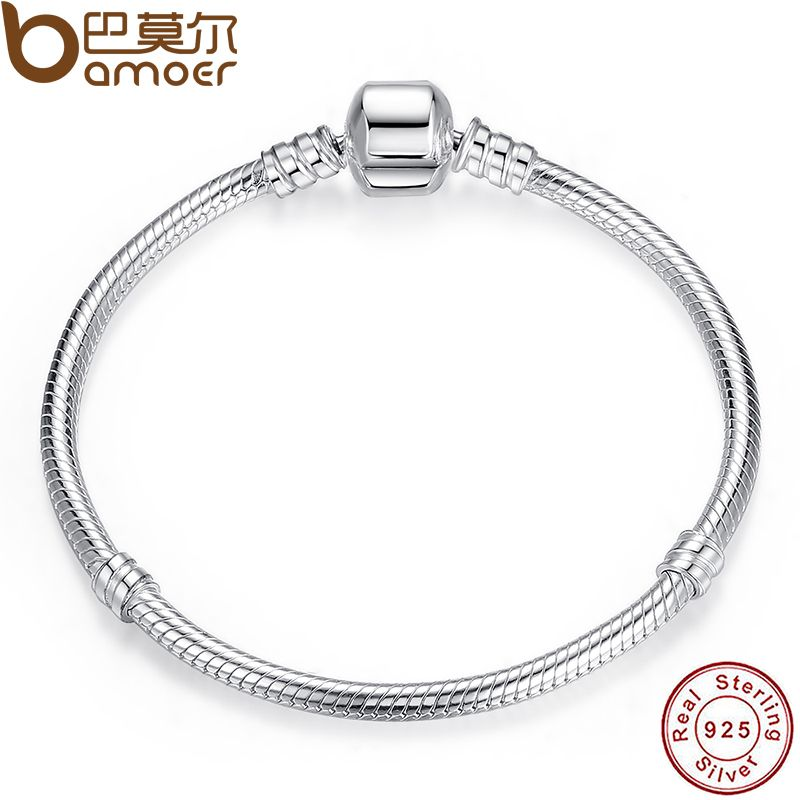 BAMOER Christmas SALE Authentic 100% 925 Sterling Silver Snake Chain Bangle & Bracelet Luxury Jewelry 17-20CM PAS902