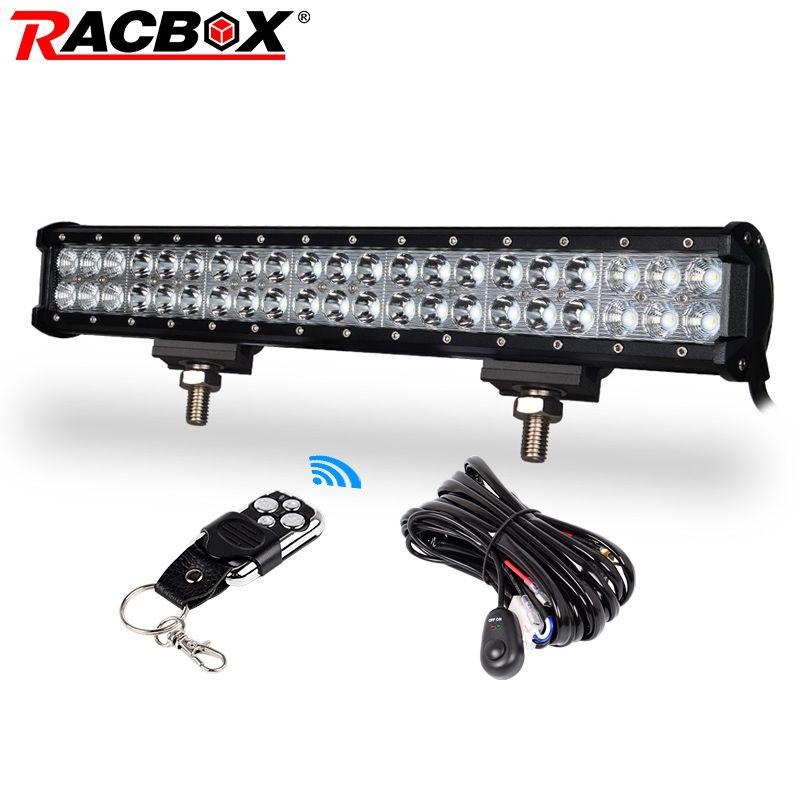 RACBOX 20 inch LED Work Light Bar Flood Spot Combo Beam 12V 24V For Truck Tractor ATV 4X4 SUV Boat 4WD 20